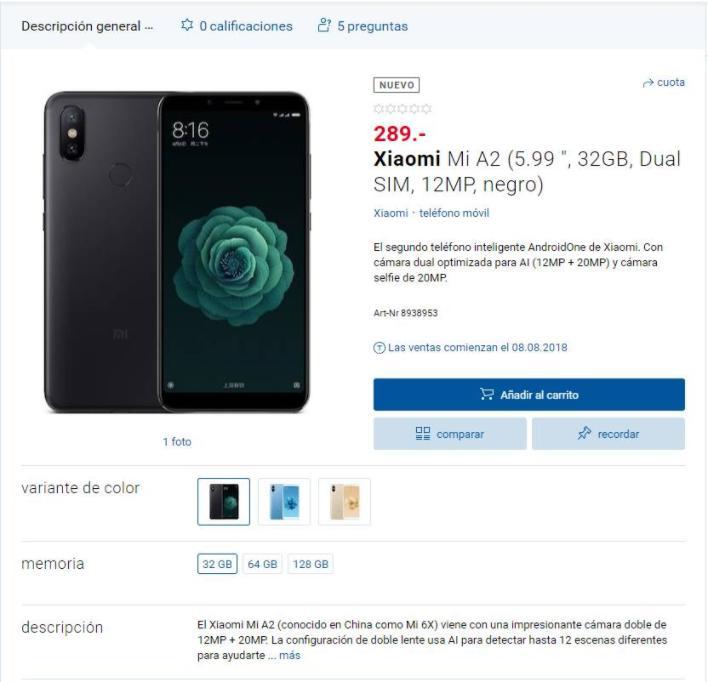 Xiaomi MiA2 уже появился внекоторых магазинах