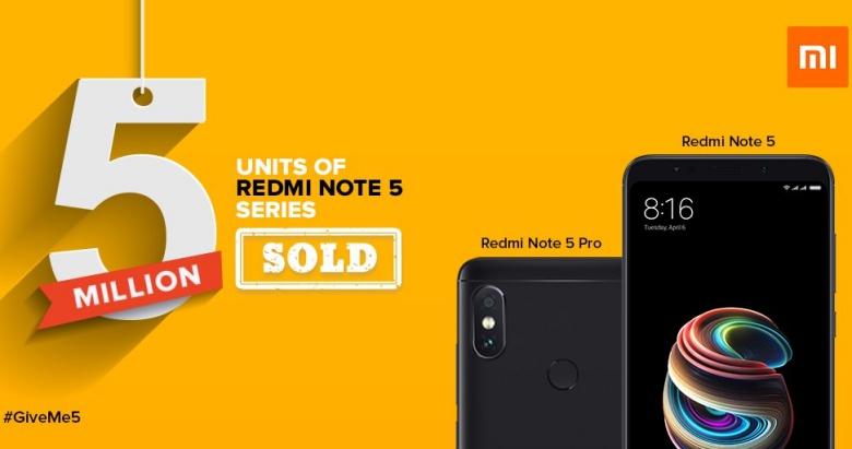 Xiaomi продаётболее 5 миллионов Redmi Note 5 Pro за4 месяца