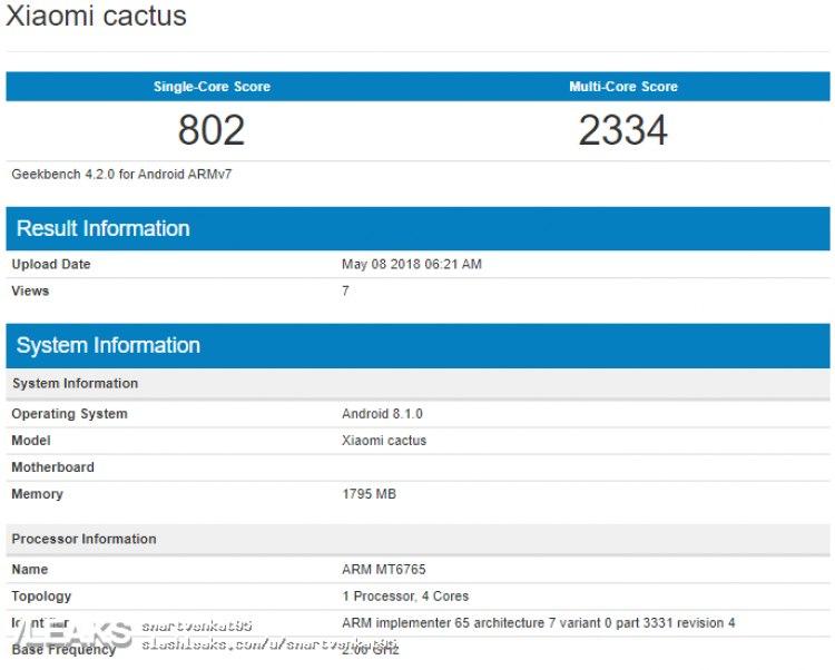 Совсем бюджетный Xiaomi Cactus обнаружили вбенчмарках